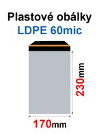 Obálka zasílací plastová 170x230+40mm, 60mic, (500ks/krabice) samolepící