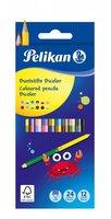 Pastelky BICOLOR PELIKAN - 24 barev, 12 ks oboustranné