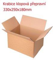 Krabice klopová 330x250x180 hnědá (přepravní)