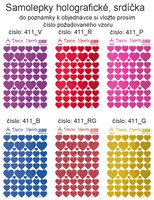 Samolepky holografické dekorační,motýlci,květinky,čtyřlíst.berušky  414,415,416,411