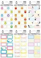 Samolepky do domácnosti dekorační, etikety pastel set ,sovy,  3561-8 ,3551-6
