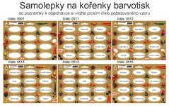Samolepky na kořenky barvotisk, 0501-0521