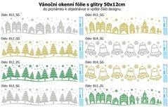 Vánoční okenní dekorace s glitry, 50x12cm, 812GG,813,814SG