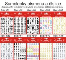 Samolepky písmena a číslice, 451-462