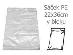 Sáček PE 22x36/40my trhací v bloku 50ks