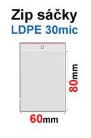 Sáčky ZIP SR02  60x80mm, 30mic, LDPE (100ks) s dírkou