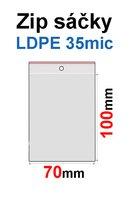 Sáčky ZIP SR03  70x100mm, 35mic, LDPE (100ks) s dírkou