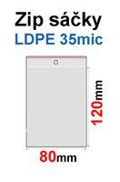 Sáčky ZIP SR04  80x120mm, 35mic, LDPE (100ks) s dírkou