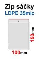 Sáčky ZIP SR05 100x150mm, 35mic, LDPE (100ks) s dírkou