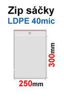 Sáčky ZIP SR24 250x300mm, 40mic, LDPE (1000ks/krabice) s dírkou