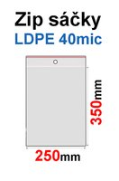 Sáčky ZIP SR10 250x350mm, 40mic, LDPE (1000ks/krabice) s dírkou