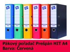 Pořadač pákový HIT A4, KV8R Prešpán, červený, RADO, 7,5cm, 260.06