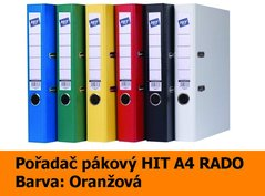 Pořadač pákový HIT A4, KV5R PP Plus, oranžový, RADO, 5cm, 356.09