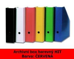Box archivní barevný HIT, červený, seříznutý, 32,5x25,5x7,5cm, 216.03