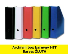 Box archivní barevný HIT, žlutý, seříznutý, 32,5x25,5x7,5cm, 216.04