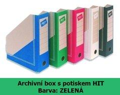 Box archivní Board Colour HIT, zelený, seříznutý s potiskem, 30x23x7,5cm, 280.02