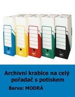 Archivní krabice na celý pořadač HIT, modrá s potiskem, 33x30x10cm, 261.01