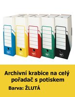 Archivní krabice na celý pořadač HIT, žlutá s potiskem, 33x30x10cm, 261.03