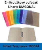 Pořadač 2kroužkový LINARTS Diagonal A4, modrý, PP, 2cm, 5205M