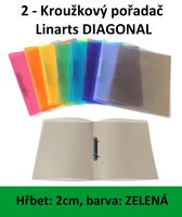 Pořadač 2kroužkový LINARTS Diagonal A4, zelený, PP, 2cm, 5205Z