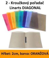 Pořadač 2kroužkový LINARTS Diagonal A4, oranžový, PP, 2cm, 5205O