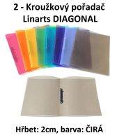 Pořadač 2kroužkový LINARTS Diagonal A4, čirý, PP, 2cm, 5205CIR