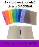 Pořadač 2kroužkový LINARTS Diagonal A4, fialový,  2cm, 5205FL