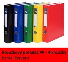 Pořadač 4kroužkový PP A4, červený, 4cm, D25 7-370