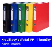Pořadač 4kroužkový PP A4, modrý, 4cm, D25 7-371