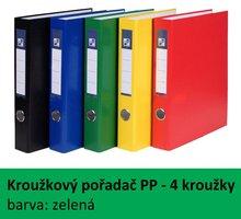 Pořadač 4kroužkový PP A4, zelený, 4cm, D25 7-373