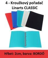 Pořadač 4kroužkový LINARTS Classic A4, bordó, PP, 2cm, 5200BO