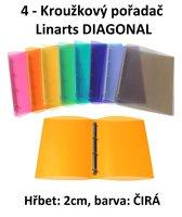 Pořadač 4kroužkový LINARTS Diagonal A4, čirý, PP, 2cm, 5204CIR