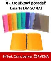 Pořadač 4kroužkový LINARTS Diagonal A4, červený, PP, 2cm, 5204CV