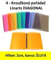 Pořadač 4kroužkový LINARTS Diagonal A4, žlutý, PP, 2cm, 5204ZL