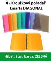 Pořadač 4kroužkový LINARTS Diagonal A4, zelený, PP, 2cm, 5204Z