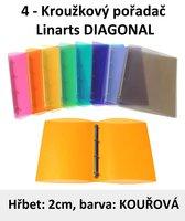 Pořadač 4kroužkový LINARTS Diagonal A4, kouřový, PP, 2cm, 5204KR