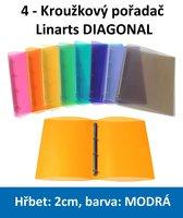 Pořadač 4kroužkový LINARTS Diagonal A4, modrý, PP, 2cm, 5204M
