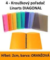 Pořadač 4kroužkový LINARTS Diagonal A4, oranžový, PP, 2cm, 5204O