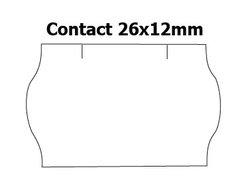 Etikety cenové 26x12mm/36kot (1500et) Contact bílé zaoblené