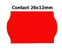 Etikety cenové 26x12mm/36kot (1500et) Contact červené signální zaoblené