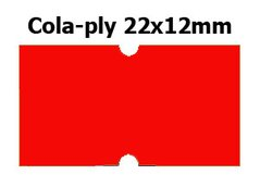 Etikety cenové 22x12mm/42kot (1250et) Cola-ply červené signální obdélníkové