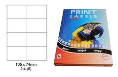 Etikety Print Emy 105x74 mm, bílé, 8ks/arch, 100 archů, samolepící