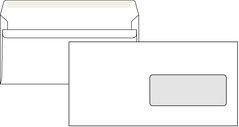 Obálka poštovní DL 110x220mm, okénko, 50ks/20bal bílá, samolepící