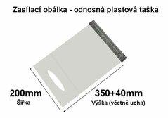 Obálka zasílací s uchem MDPE 200x350+40mm, 50mic - 1ks
