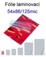 Laminovací fólie Standart 54x86/125mic. 100ks