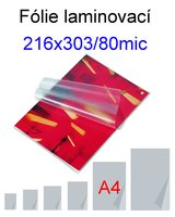 Laminovací fólie Standard A4/080mic. 100ks    216x303mm