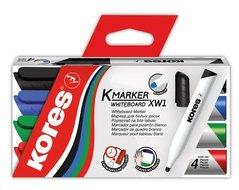 Stíratelný popisovač KORES, 4ks mix, 3mm, kulatý, K-Marker Whiteboard 20843, Flipchart