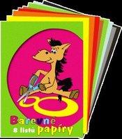 Barevné papíry A4, 8 listů, 000 210508