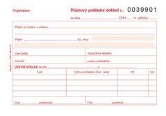 Příjmový pokladní doklad A6 pro podvojné účetnictví, číslovaný 1+1 propisující PT032