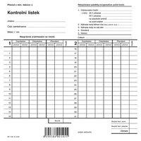 Kontrolní lístek, dvojitá píchačka OP1145